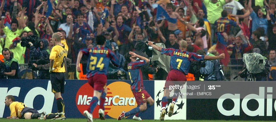 Barcelona's Juliano Belletti celebrates his goal in front of the Barcelona fans (Photo by Tony Marshall - PA